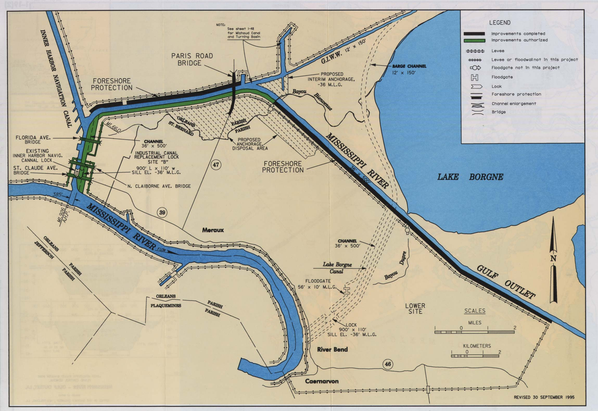 mississippi river gulf outlet map River And Harbor Act Project Maps mississippi river gulf outlet map