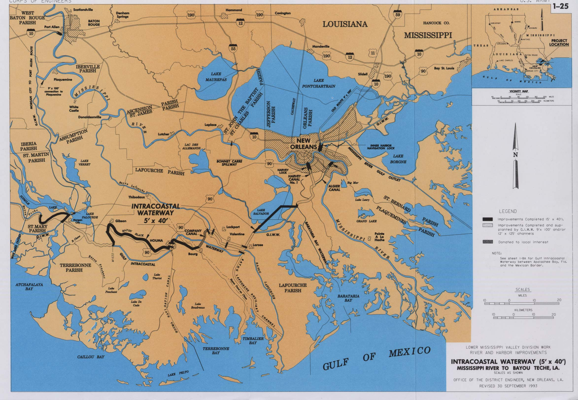 Map Of Louisiana Bayou.River And Harbor Act Project Maps